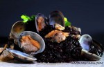 black risotto with clams