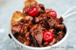 chicken liver cooked with cherries and balsamic vinegar