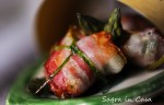 Pancetta parcels with aspargus and goat cheese