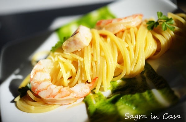 Spaghetti cooked in tomato water with shrimp and parsley sauce. Picture by Nick Cornish