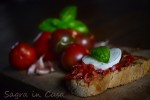 Bruschetta tomatoes and mozzarella cheese